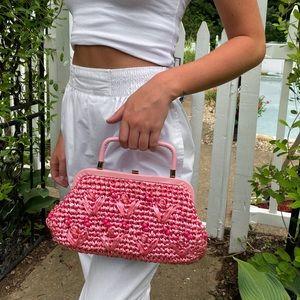 Vintage Pink Straw Bag!